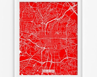 Raleigh Poster, North Carolina Poster, Raleigh Print, Raleigh Map, North Carolina Print, North Carolina Map, Street Map, Fathers Day Gift