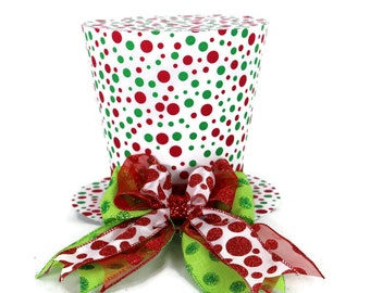 Polka dot tree topper top hat, green and red polka dot tree topper, top hat.