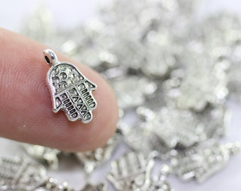 20 Pcs Antique Silver Hamsa Orientalist Charms, Hamsa Bracelet and Necklace Findings, 13 mm Tiny Hamsa Charms, Hamsa charms, MNHC