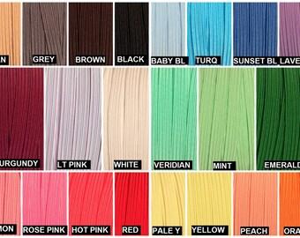 "Skinny Elastic 1/4"", Thin Elastic Wholesale for Headbands, 1/4"" Skinny Elastic By the Yard or 5 Yards 31 Colors"