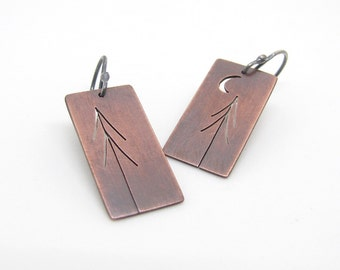 Tall Pines and One Crescent Moon Tree Art copper and sterling silver earrings - made to order