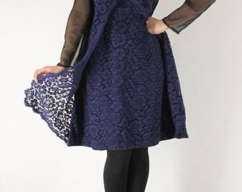 Blue night guipure dress (M)