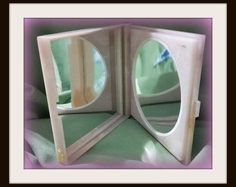 Vintage Pink Mirror, double sided mirror , light pink with cream and white swirls, Make up mirror, Vanity decoration, travel