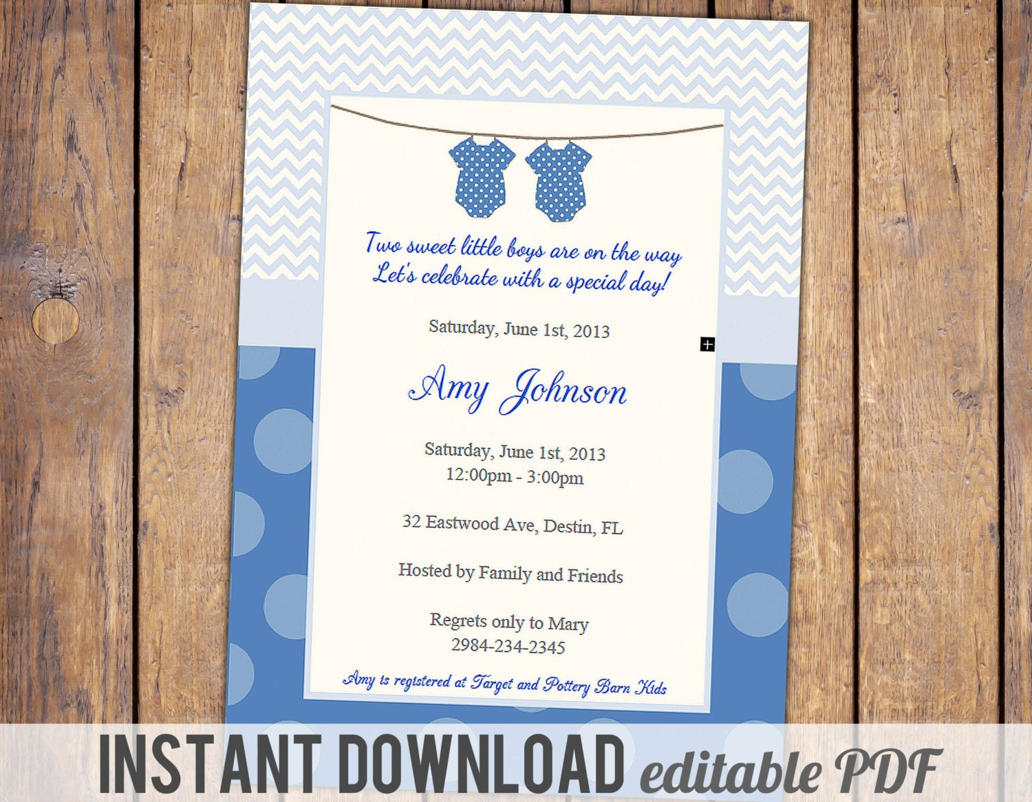 Twin Boys Baby Shower Invitation With Poem Baby Boy Shower