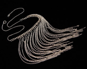 Long Silver Chain Fringe Choker Necklace