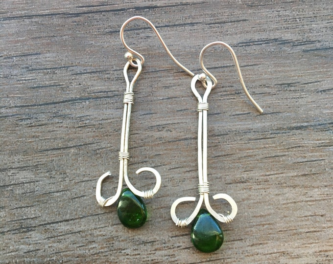 Green Chrome Diopside and Hammered Sterling Silver Earrings OOAK Unique
