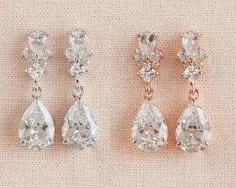 Wedding Earrings, Crystal Bridal Jewelry, Teardrop Bridal Earrings, Wedding Necklace, Rose Gold,  Wedding jewelry, Kendall Crystal Earrings