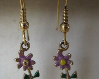 Gold Purple Dangle Flower - vintage earrings
