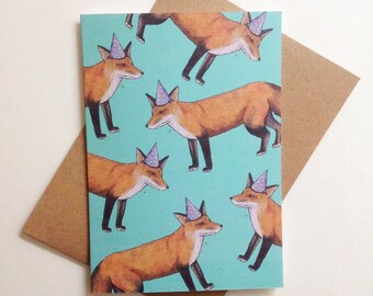 Party Fox Greeting Card Blue