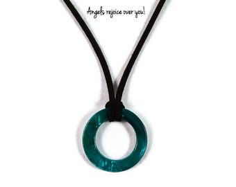 Teal Shell Necklace, Suede Necklace, Suede Cording, Teal Necklace, Christian Jewelry, Gift for Her, Unique Gift Idea, Teal Pendant, Shell