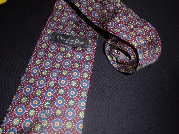 Christian Dior Tie Monsieur Green Blue Floral Prints Stripe 100% Silk Flower Necktie Circle Pattern Vintage Neckwear Designer Name Brand Men CDoeI