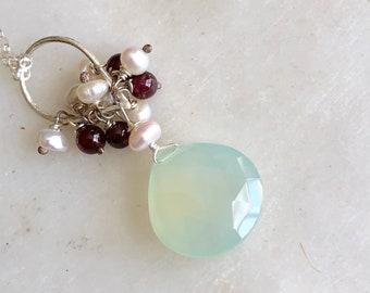 Gemstone Necklace, Aqua Chalcedony, Garnet, Garnet and Pearls Necklace, Genstone Silver , Gift For Mom