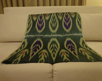 olive green ikat,dark green ikat,pink highlight,ikat by yard,fabric by yard,wide ikat,cotton ikat