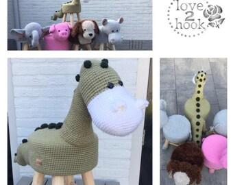 Animal stool Dino Crochet