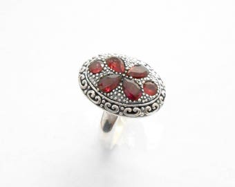 Unique silver sterling six Garnet gemstone ring / granulation technique  / Bali handmade jewelry / silver 925 / request your size ! (#333m)