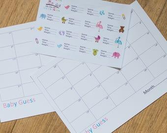 Baby Guess Baby Shower Prediction Game Sticker Quiz BSG101