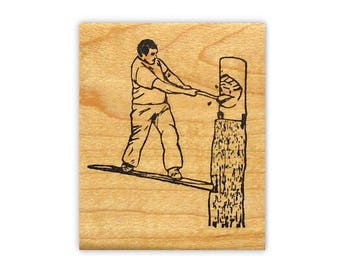 Lumberjack Springboard unmounted rubber stamp, timber sports, man with axe chopping, Sweet Grass Stamps No.14