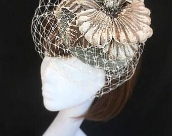 Grey wedding hat, beige flower hat, headdress, Wedding hat, wedding fascinator, Vintage hat, veiled fascinator