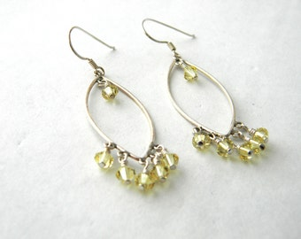 Sterling Silver Oval Chandelier Earrings with Yellow Glass Beads