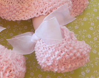 Heel Bow Knit Baby Shoes Pattern PDF