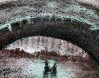 original art  aceo drawing winter skaters city arched bridge