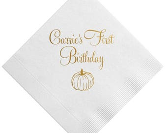 Pumpkin First Birthday Personalized Napkins
