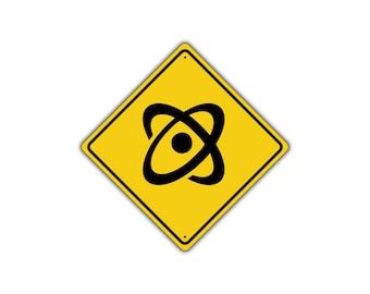 ATOM CROSSING Symbol Science Physics Chemistry Street Metal Aluminum Sign 12x12