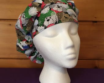 Women's holiday pups adjustable bouffant surgical scrub hat.