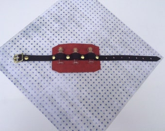 Red Leather Steampunk Vial Cuff/Wrist Band, Steampunk Alchemist Potion Wrist Band, Steampunk Ammo Wrist Band, Steampunk Cuff