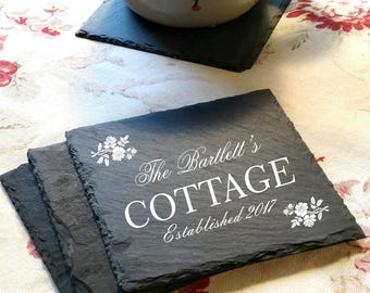 Engraved Cottage Slate Coasters (set of 4)