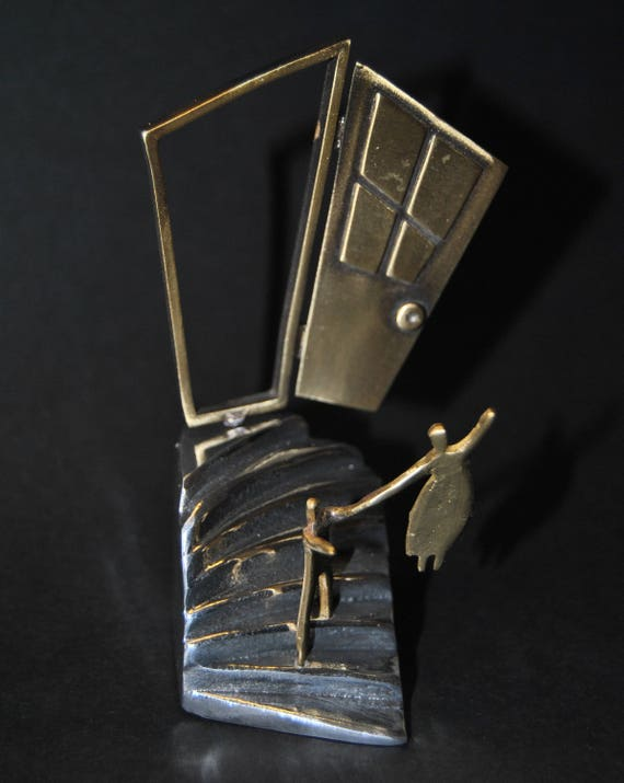 Decoration item, handmade. Aluminum staircase and brass figures.