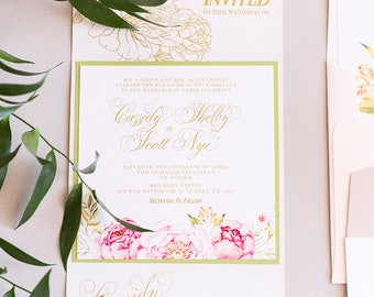 Garden Florals Flower Peonies Ranaculous Wood Textured Gate Card Wedding Invitation in Blush Pink and Gold with RSVP and Envelope Liner