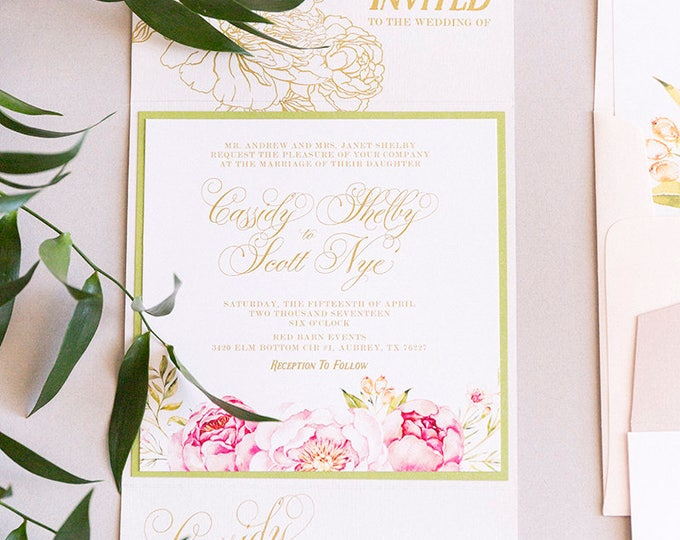 Garden Florals Flower Wood Textured Gate Card Wedding Invitation in Blush and Gold with RSVP and Envelope Liner - Color Options Available