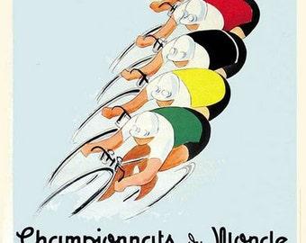 1947 World Cycling Championships Paris Poster A3 Print