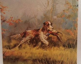 """Art Print, Unframed Lithograph titled """"Setter Dog"""" by Trocey, Textured Print, Museum Print Edition Inc. NY, Wall Decor, Art and Collectibles"""