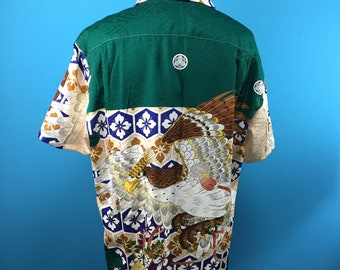 Hawk, delicate embroidery, green, thin fabric, vintage silk, Hawaiian shirt, Japanese vintage, US size L