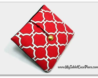 Ready to Ship - Hand Crafted Tablet Case from Red and White Geometric Fabric Case for iPad Mini, Kindle Fire 7,  Galaxy 7, Holiday Gift