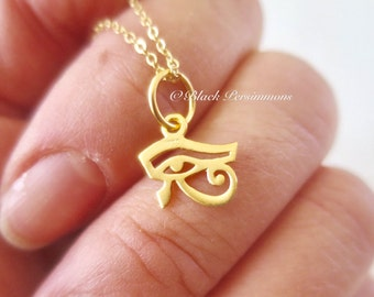 Eye of Horus Necklace - 24k Gold Plated Vermeil Sterling Silver Eye of Ra Charm - Insurance Included