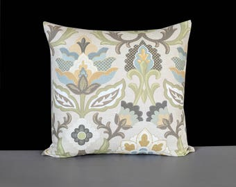 Beige Light Green Floral Pillow Cover