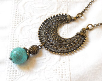 turquoise bohemian necklace pendant necklace boho necklace boho jewelry turquoise necklace bronze pendant necklace bohemian necklace  M