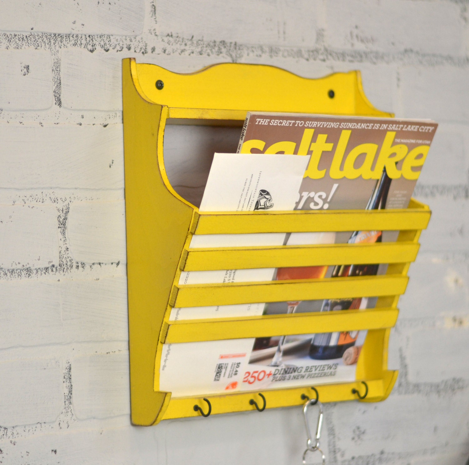 Handmade Wall Mounted Mail and Key Holder in Color OF YOUR