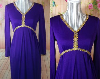 Gorgeous Regal Purple Gown with Beaded Embellishments