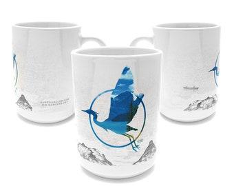 Great Blue Heron Mug - nature, coffee, office gift