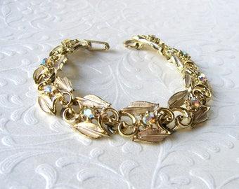 Vintage Aurora Borealis Rhinestone Bracelet Gold Tone Leaves Flower Costume Jewelry Wedding Bridal Formal Evening Cocktail Prom Pageant AB