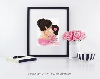 Brunette Mother Daughter, Girl's Room Decor, Nursery Wall Art, Mother and Child, Gift for Mother, Gift for New Mom, Mother's Day, love quote