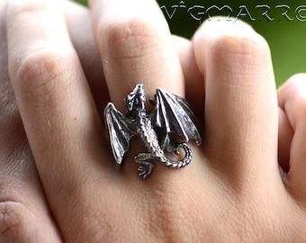 Dragon Rings .Dragon Pendant.Silver Dragon.celtic dragon.Dragon Gift.Game of thrones Ring.house targaryen.Fantasy Dragon. Flying Dragon.