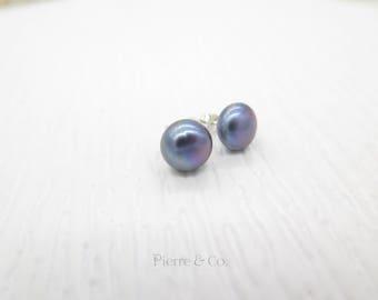 Purple Fresh Water Peals Sterling Silver Earrings