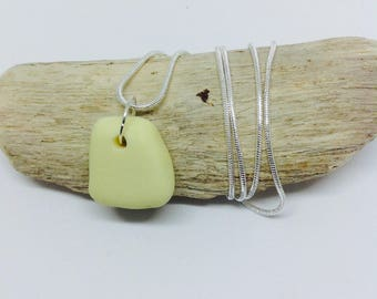 Yellow and White Milk Glass Necklace Pendant, Sea Glass Jewelry, Seaham Sea Glass, Sea Glass Jewellery, Unique Gift, Birthday Gift,