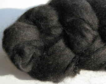 Black Alpaca and Finn Sheep Roving, Spinning and Felting Fiber 2 ounces
