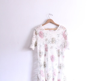 Sheer Lace Floral 90s Mini Dress